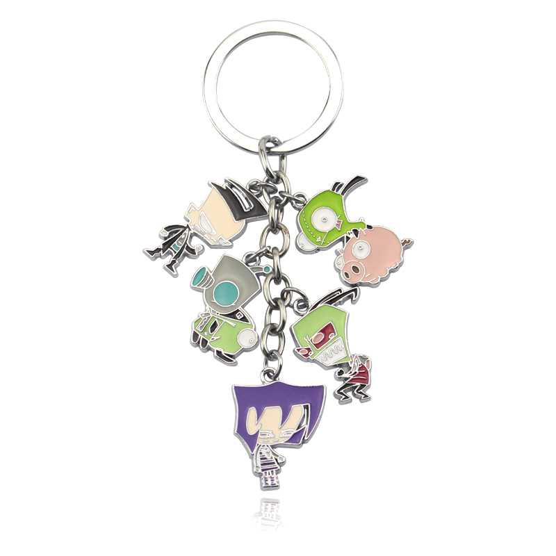 Anime Cosplay Invader Zim Key Chains Metal Figures Keychain Fashion Christmas Jewelry Gift Keyring