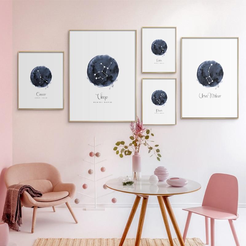 Takımyıldızı kreş duvar sanatı tuval Poster baskılar astroloji işareti Minimalist suluboya resim Nordic çocuk dekorasyon resim
