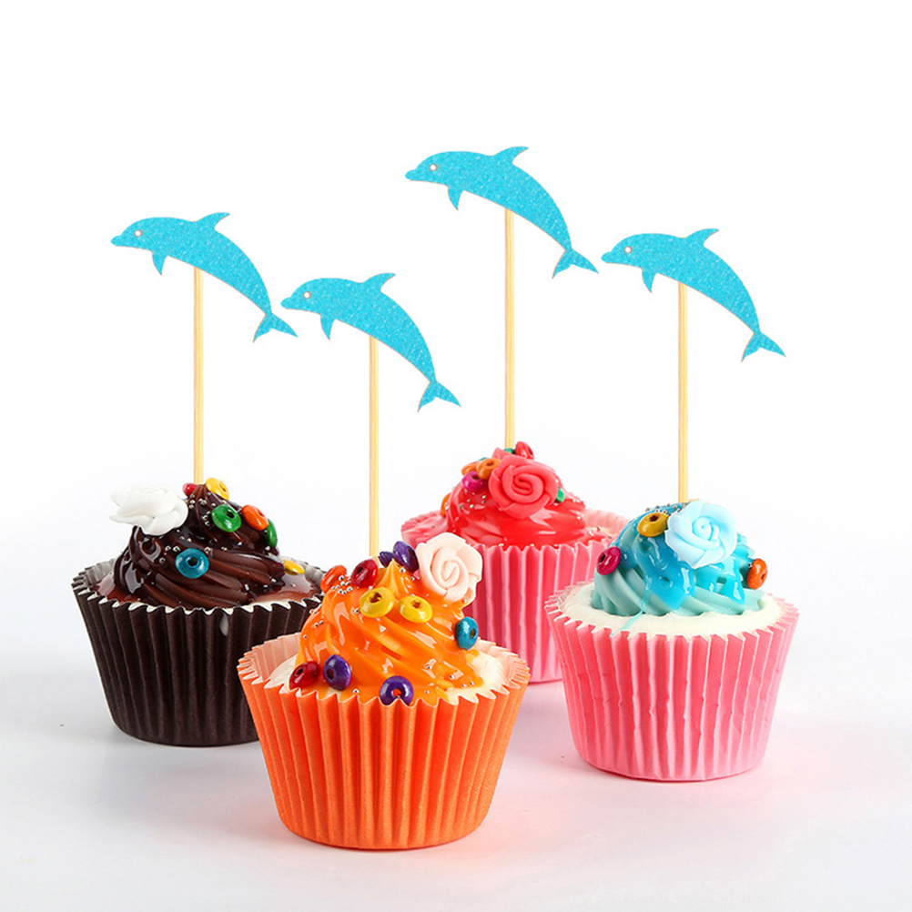 Peachy 24Pcs Cake Topper Blue Dolphin Decorative Durable Paper Non Toxic Personalised Birthday Cards Epsylily Jamesorg