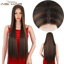 AISI HAIR – perruque synthétique longue lisse brune pour femmes, postiche quotidienne en Fiber résistante à la chaleur avec partie centrale Hanrline naturelle