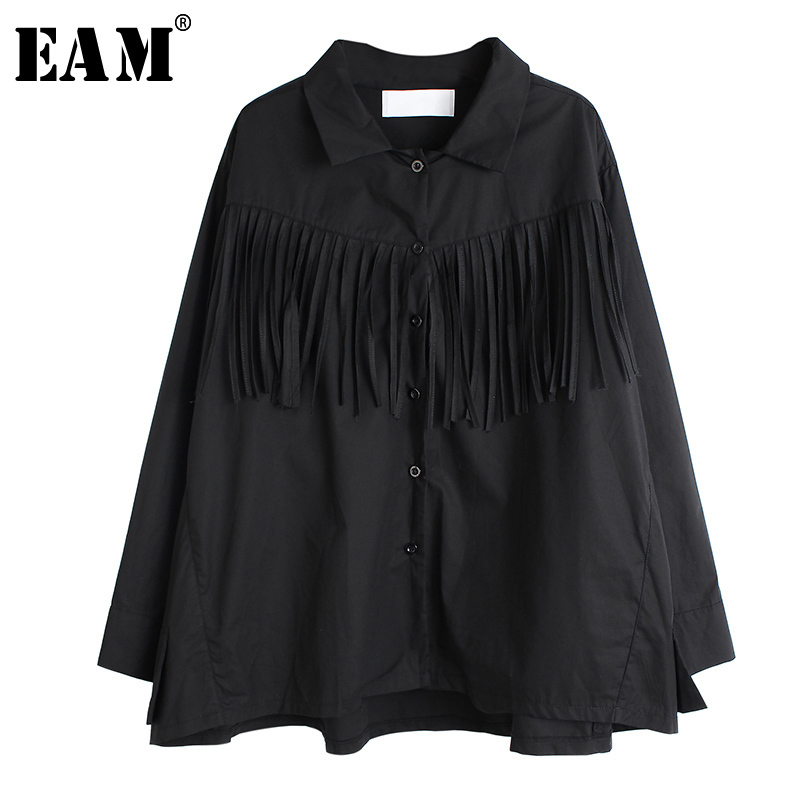 [EAM] Women Black Tassels Split Big Size Blouse New Lapel Long Sleeve Loose Fit Shirt Fashion Tide Spring Autumn 2020 1S124