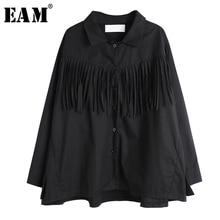 [EAM] Women Black Tassels Split Big Size Blouse New Lapel Long Sleeve Loose Fit Shirt Fashion Tide Spring Autumn 2021 1S124