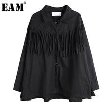 [EAM]-blusa holgada de manga larga con borlas para primavera y otoño, camisa holgada con solapa nueva para mujer, color negro, 2021