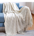 Beige Nordic Knitted Throw Thread Sofa Blanket Tassel Boho on the Bed Sofa Plaid Travel TV Nap Blankets Soft Towel Bed Plaid