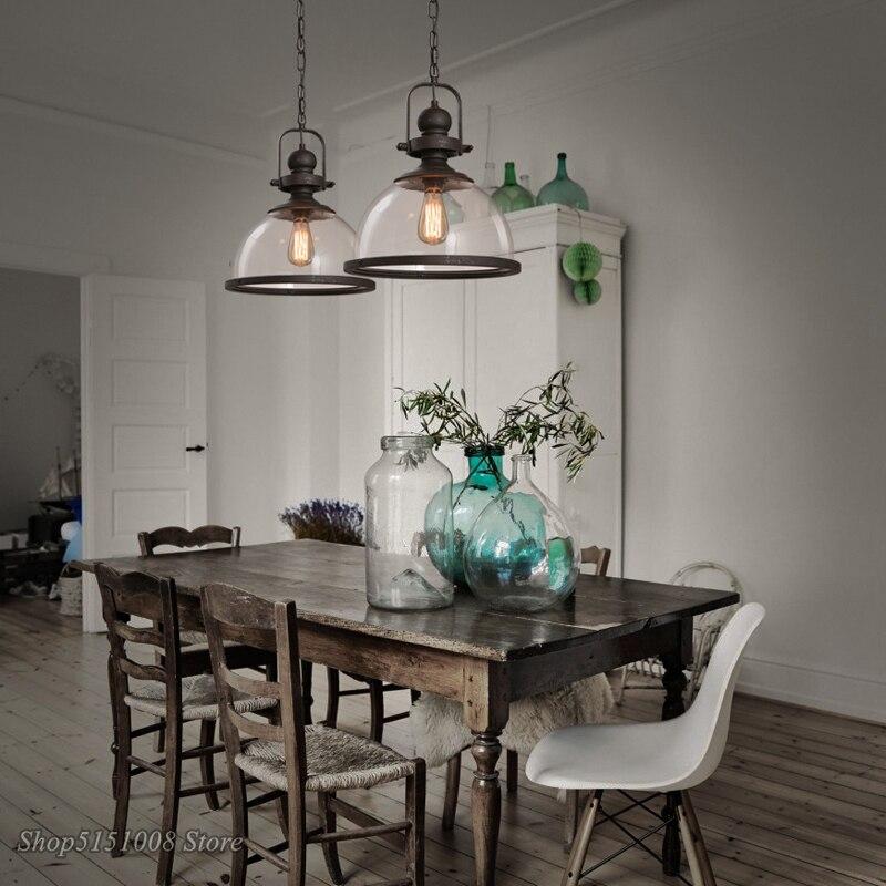 Лофт винтажные железные подвесные светильники промышленный Декор Подвесная лампа для столовой кухни дома осветительные приборы стеклянны... - 3