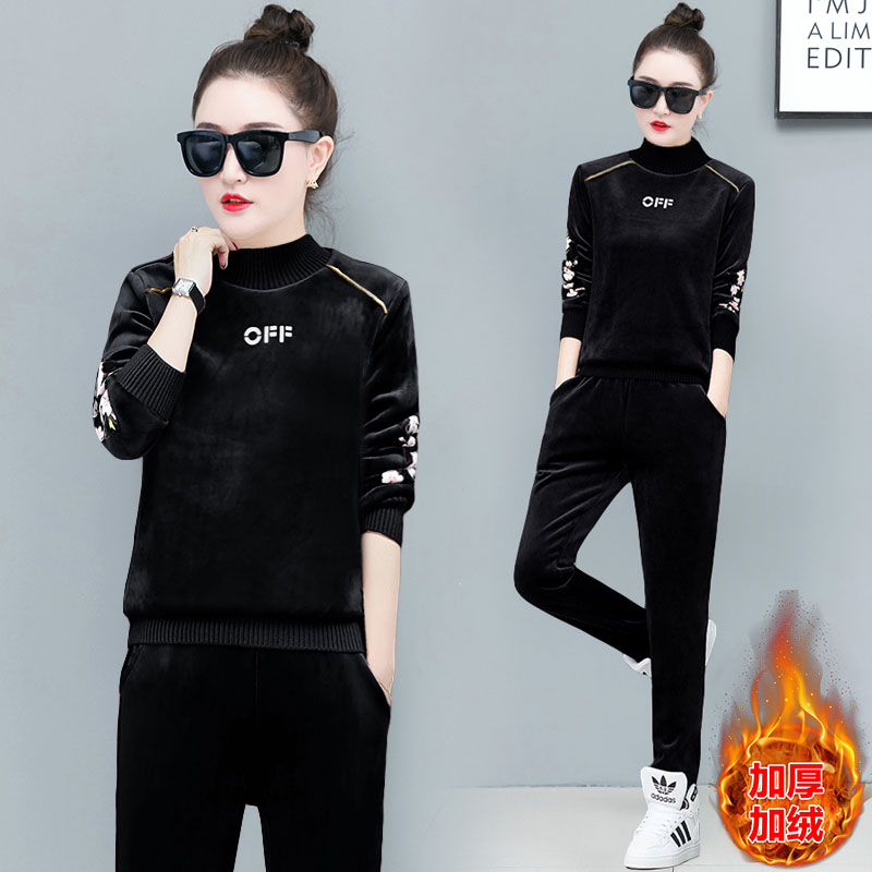Winter Pleuche Women Tracksuit Casual Floral Embroidery Sport Suit Plus Velvet Thick Sweatshirt + Pants Two Piece Set For Woman