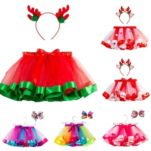 Free Bow+Tutu Skirt Baby Girls 12M-8T Princess Pettiskirt Rainbow Kids Party Tutu For Girls Christmas Skirt Children Clothing