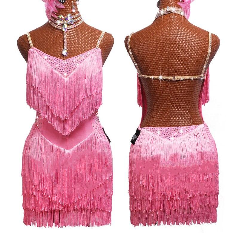 New Latin Dance Dress Lady Performance Dance Wear Girls Gatsby Dress  Women Competition Costume Pink Fringe Dance Dress BL2555