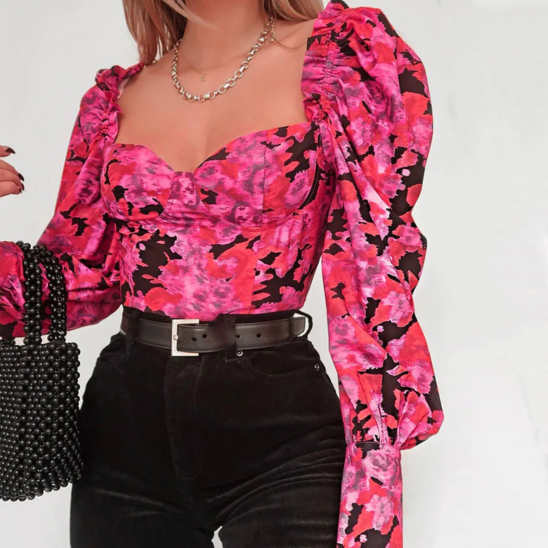 NewAsia Garden Square Collar Long Sleeve Blouse Lantern Sleeve Womens Tops And Blouses Print Streetwear Hot Pink Top Slim Blouse
