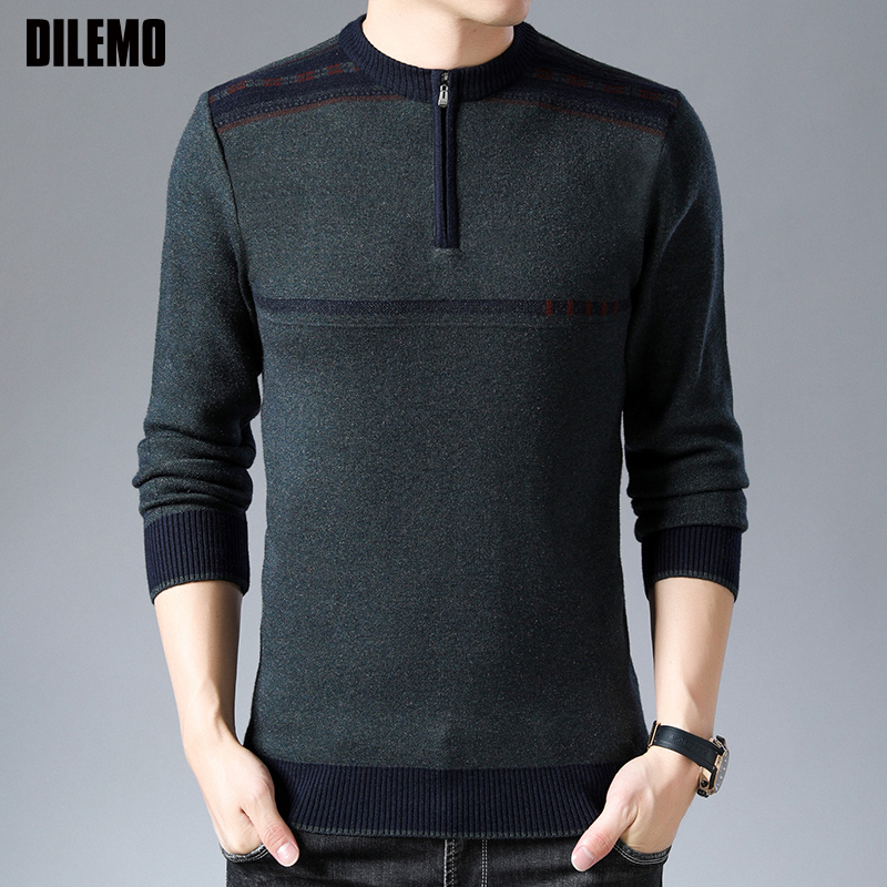 2019 New Fashion Brand Sweater For Mens Half Zip Pullover Slim Fit Jumpers Knitwear Winter Korean Style Casual Warm Clothing Men