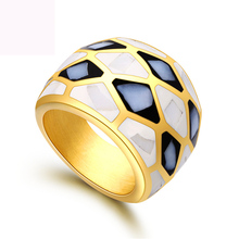 New shell design finger ring fashion jewelry titanium steel rings gold color casting for women