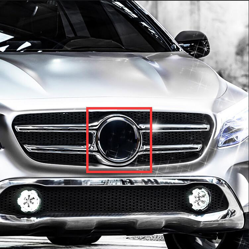 185mm Mirror Black Chrome Star Emblem Car Styling Middle Grille Logo LED Emitting Light Decoration for Mercedes Benz C E GLA GLK image