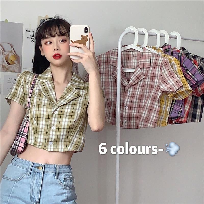 New Brandy Melville Short Sleeve Plaid Shirt Women Crop Top Korean Vintage Version Wild Short Blackpink Crop Tops Female 2020