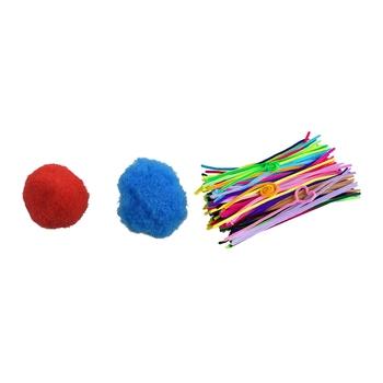 Promocja! 100 sztuk mieszane kolor miękkie puszyste pompony dla dzieci rzemiosło 20mm z 300 sztuk czyściki do fajki czyściki szenilowe 60mm x 300mm tanie i dobre opinie CN (pochodzenie)