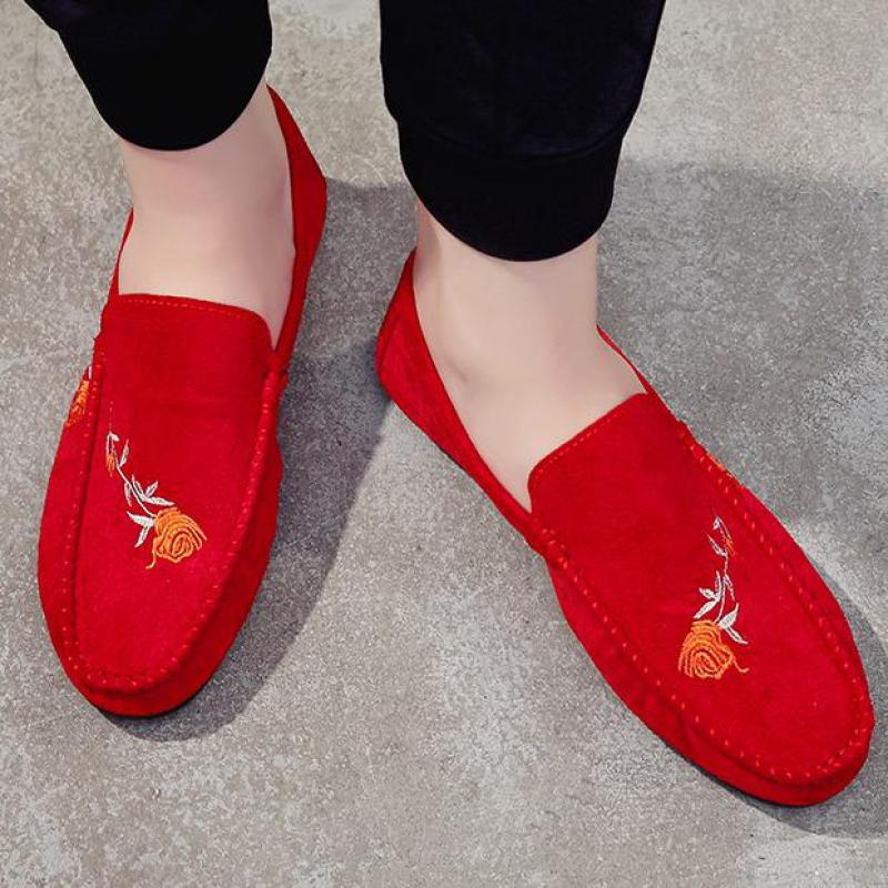 Driving Shoes Embroidery Red Loafers Flats Moccasins Rose Suede Slip-On Casual Mens Toe