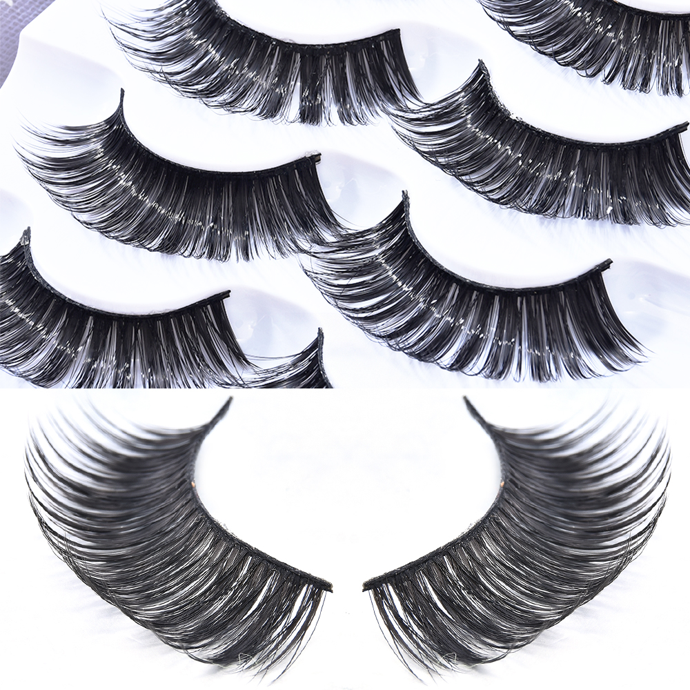 5 Pairs Mink 3D Volume Conner Curled Full Strip Lashes Eyelash Premium Long Thick Natural Eyelashes Extension Women Eye Makeup