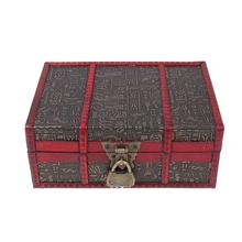 WINOMO Vintage Desktop Storage Box Wooden Jewelry Container Large Sundries Organizing Box With Lock (Lotus/Egypt Pattern)