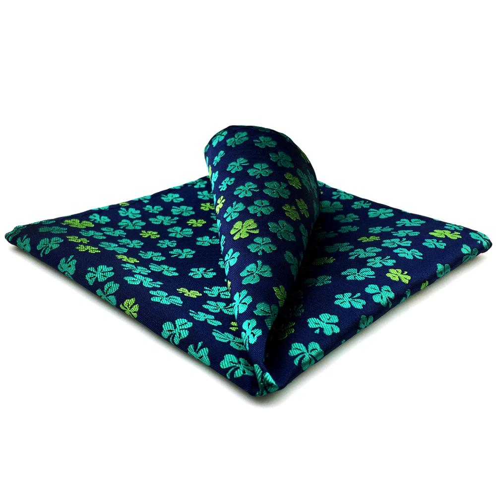 EH18 Blue Green Clover Mens Pocket Square Wedding Silk Floral Handkerchief Hanky