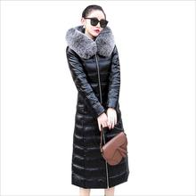 Real leather 90% duck down warm Parkas coat winter fashion thick warm d