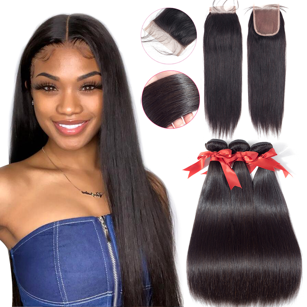 Beaudiva Straight Bundles With Closure 5*5 6*6 Brazilian Hair Weave Bundles With Closure Human Hair Extension