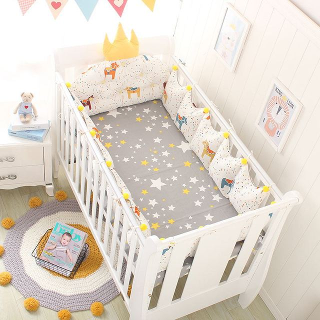 5 pièces/ensemble bébé nordique pare-chocs berceau coton pare-chocs sur le lit couronne forme coussin dossier tête bébé chambre décor lit accessoires