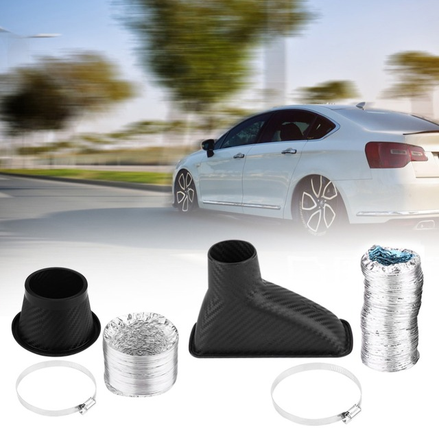 1Set Car Cold Air Intake System Kit Air filter Auto Front Bumper Turbo Air Intake Pipe Turbine Inlet Pipe Air Funnel Kit