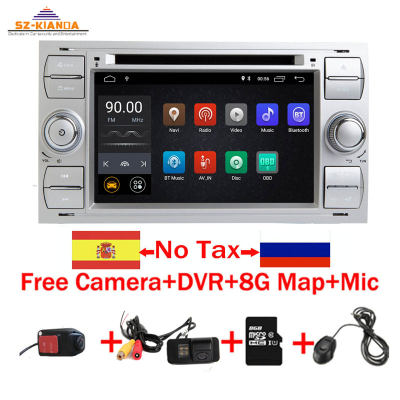 Free Shipping Android 9.0 Car DVD Player for Ford Focus Kuga Transit Wifi 3G GPS Bluetooth Radio RDS SD Steering Wheel Control Toyota Land Cruiser