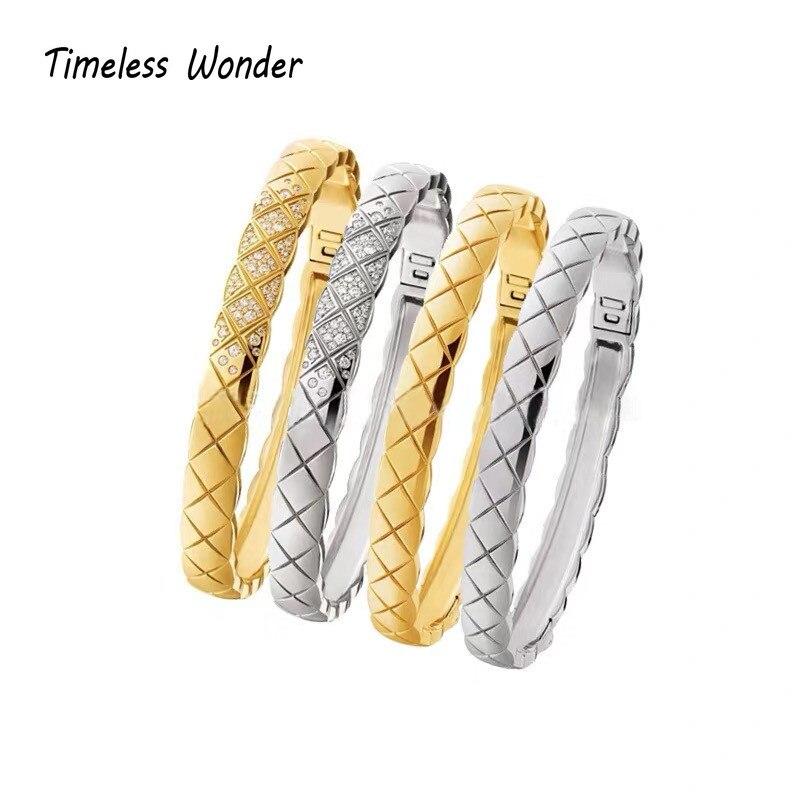 Timeless Wonder Glam Zirconia Geo Statement Bangle Women Stainless Steel Jewelry Punk Gothic Designer Ins Rare Top Trendy 1622