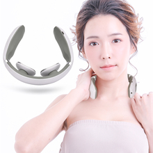 Electric Pulse Neck Massager USB Rechargeable Cervical Traction Therapy Massage Stimulator Pain Relief Heating Function Massager health care smart rechargeable usb infrared heating neck massager electric relax cervical treatment acupuncture stimulator