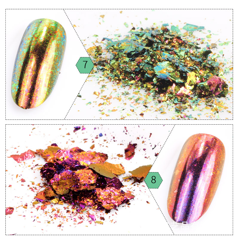 1Box nail powder Sheet shaped transparent chameleon coarse powder powder high grade brocade powder nail polish rubber glitter in Nail Glitter from Beauty Health