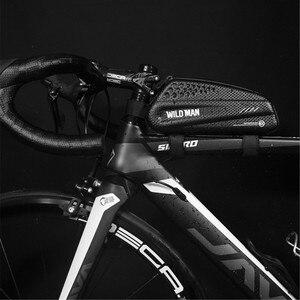 WILD MAN Водонепроницаемая велосипедная сумка верхняя труба передняя балка сумка жесткая оболочка дорожный велосипед непромокаемая велосипе...