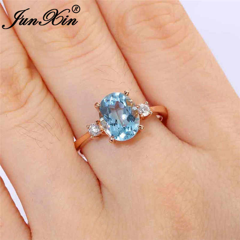 Oval Cut Aqua Blue Crystal Stone Rings For Women Rose Gold Wedding Bands Minimalist Thin Ring Band Zircon Engagement Ring Gifts Aliexpress