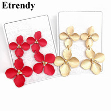 Red Flower Petals Drop Dangle Earrings For Women 2019 New Double Layers Statement Pendientes Jewelry Black