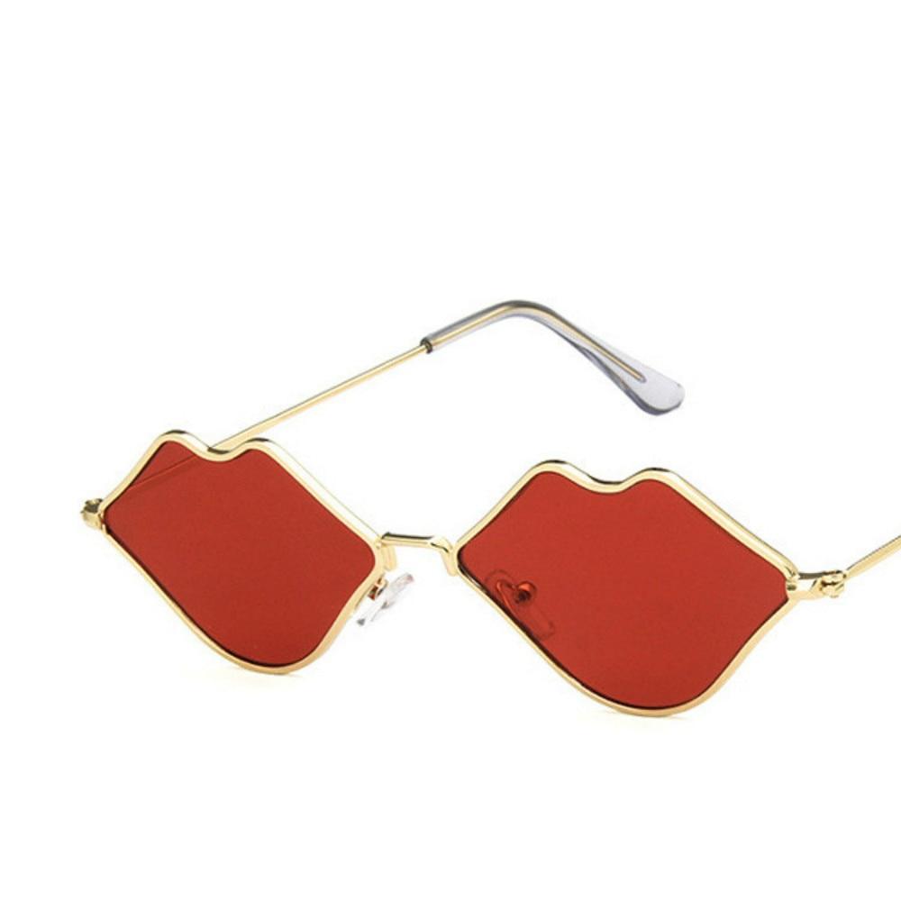 Gafas De sol con montura pequeña para mujer, anteojos De sol femeninos De estilo Retro, con espejo De labios, De Metal, diseño Vintage De marca
