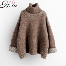 H.SA 2019 Women High Turtleneck Green Sweater and Jumpers Long Sleeve Solid Oversized Pullovers Thick Winter Knitwear Korean