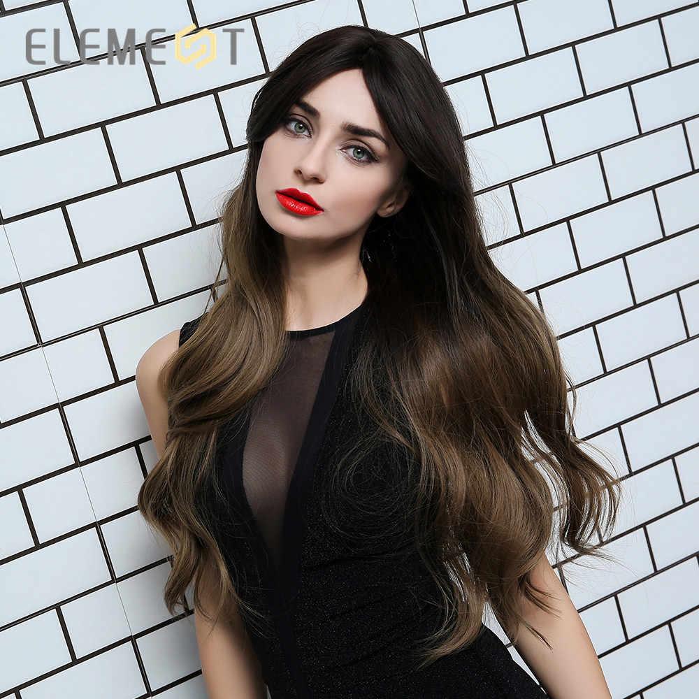 Element długie naturalne włosy falowane Ombre brązowy do blond kolor włókno termoodporne peruki syntetyczne dla białych/czarnych kobiet