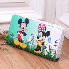 Disney Wallet Cartoon Mickey Minnie Mouse Ladies Pu Leather Purse Cute Girl Children's Backpack Gifts