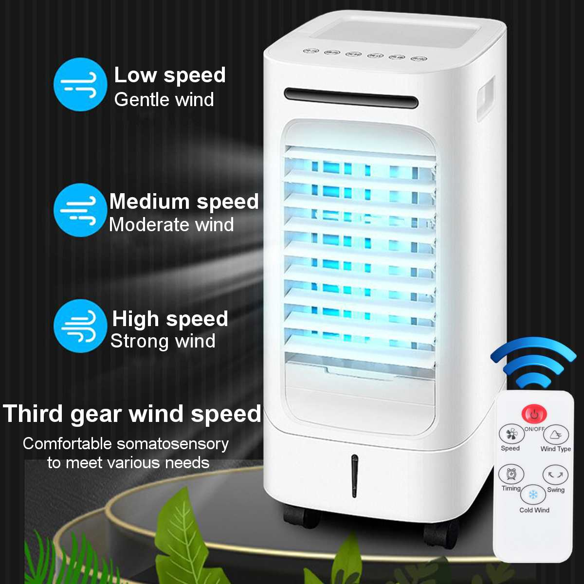 75W Home Mobile Air Conditioning Fan Portable 2 5L Tank Humidifier Cooler 3 Fan Modes Sleep Timer 220V Bedroom Living Room offic