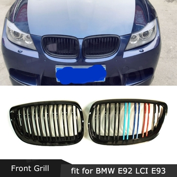 Carbon ABS Front Bumper Kidney Twin Fins Sport Racing Grill Car Decorations for BMW E92 LCI E93 318i 320i 328i 335i Coupe 2 Door image