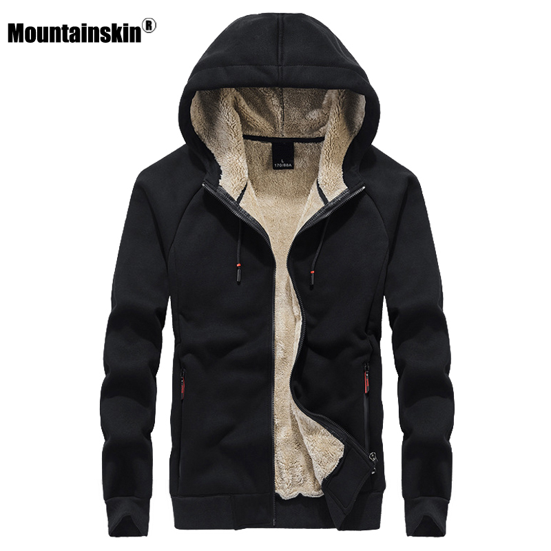Mountainskin New Fleece Hoodie Sweatshirt Mens 2020 Winter Thick Warm Coat Male Solid Color Jacket Men Brand Clothing 8XL SA807