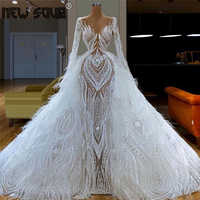 2020 couture aibye vestido de baile kaftans vestidos pageant dubai branco penas inchado vestidos de noite para casamento árabe robe de soiree