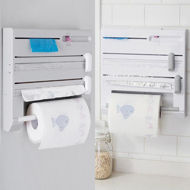 1PC Wall Mounted Paper Towel Rack Tissue Film Preservative Holder Wrap Tin Foil Dispenser Storage Organizer For Kitchen Bathroom