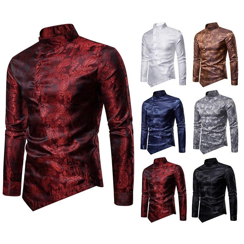 AliExpress 2019 Cool Oblique Button Paisley Irregular Multi-color Henry Collar Top Grade Long-sleeved Shirt