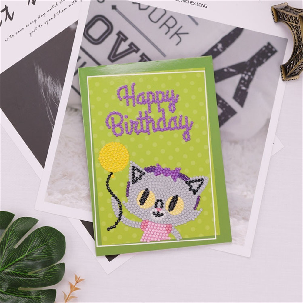 Huacan Diy Diamond Painting Cartoon Birthday Card Diamond Embroidery Cartoon Children 39 s Handmade Hobby Birthday Greetings Card in Diamond Painting Cross Stitch from Home amp Garden