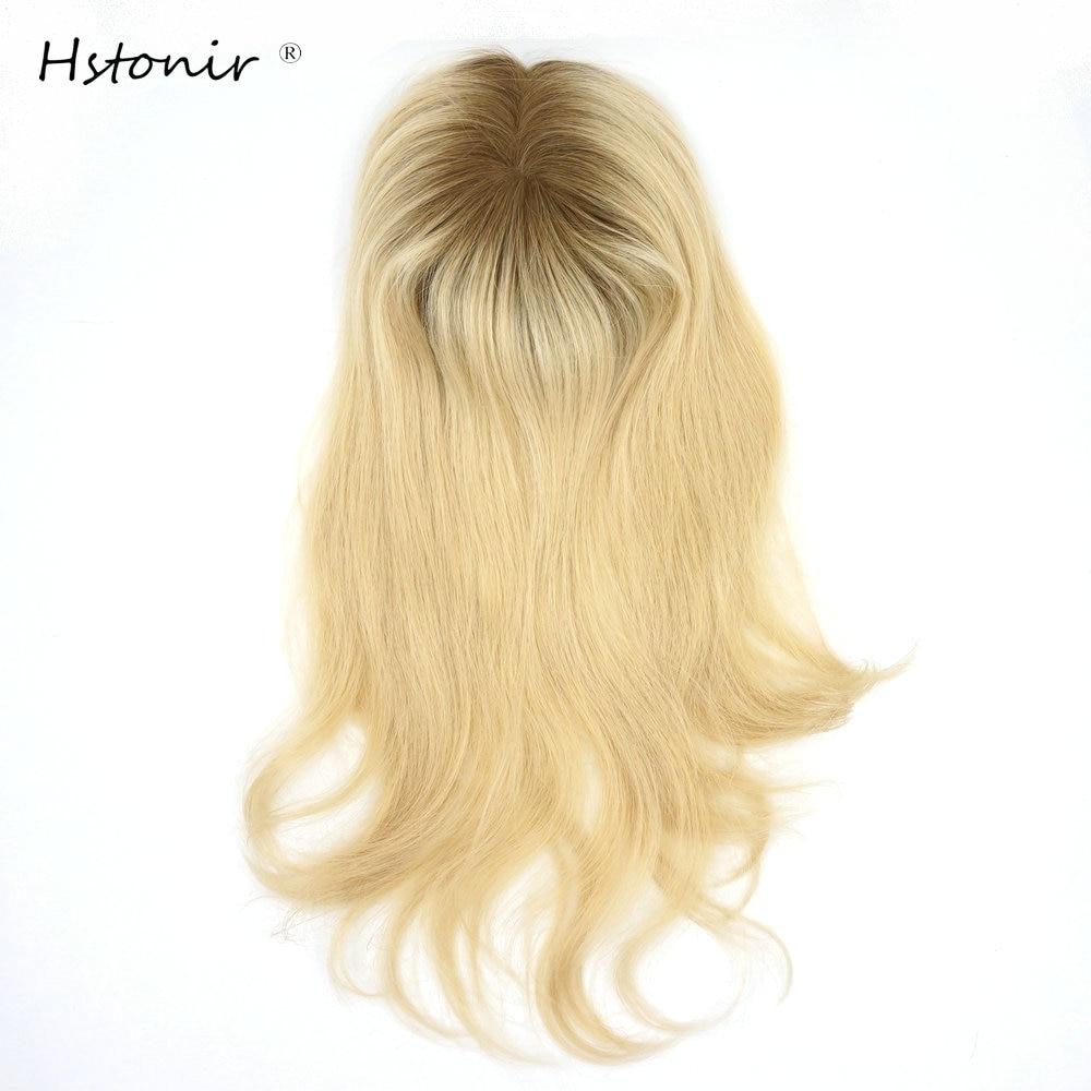Hstonir Toupee Woman 613 Human Hair Top Piece European Remy Hair One Piece Hair Topper Mono Fishnet Clip Wig TP07