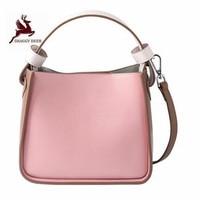 High Grade Rivet Pink Bucket Handbags Solid Western Style Magnetic Buckle Single Shoulder Bags