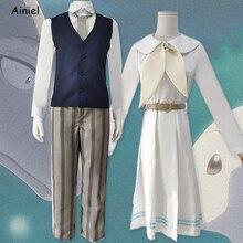 Anime Beastars Haru Cosplay kostüm beyaz tavşan elbise takım elbise hayvan sevimli elbise Legoshi gömlek pantolon seti peruk kız kadın erkek