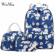 2019 3 Set School Bags For Girls Teenage Unicorn Pattern Backpack Laptop Backpacks Daypack Pnone Food Bag Travel Bolsa