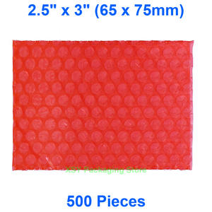 "500 Pieces 2.5"" x 3"" (65 x 75mm) Red Anti Static Bubble Bags Electronic Product Packing"