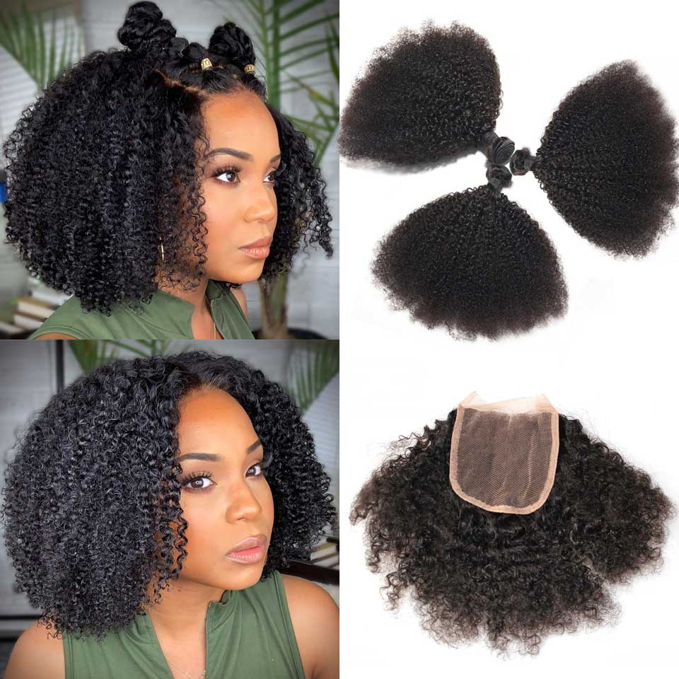 Weave Bundles Closure Human-Hair Curly Mongolian Kinky Black-Women Afro with  title=